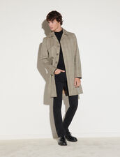 Checked Cotton Coat : Trench coats & Coats color Beige