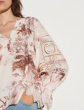 Printed Top With Broderie Anglaise : Tops color Ecru / Brown