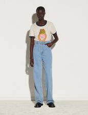 Wide-Leg Faded 5-Pocket Jeans : Jeans color Bleu Denim