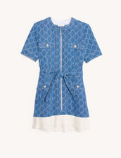 Jacquard Denim Coat Dress : Dresses color Blue Jean