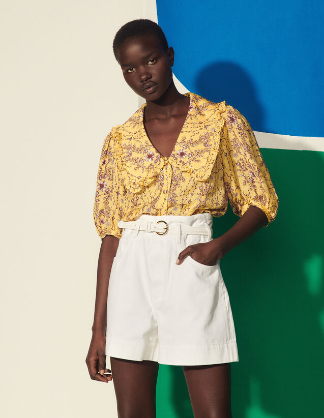 Printed Shirt With Large Collar : Tops color Yellow
