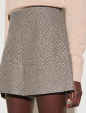 Herringbone Weave Shorts With Sequins : Skirts & Shorts color Beige / Grey