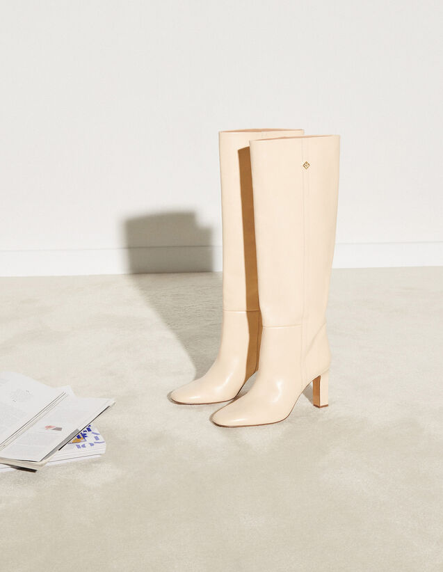 Smooth Leather Heeled Boots : Boots color Ecru