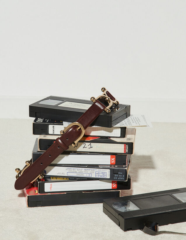 Leather Belt With Gold-Tone Details : Belts color Brown