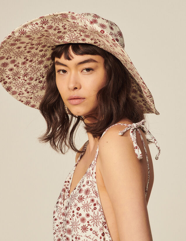 Printed Cotton Floppy Hat : Other accessories color Ecru