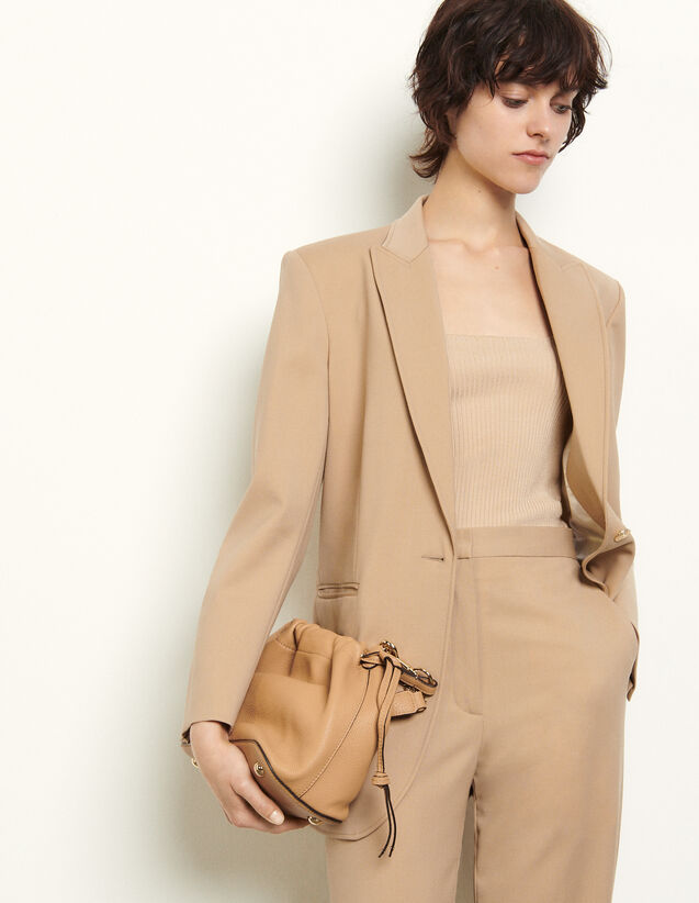 Tailored Jacket With Darts : Blazer & Jacket color Beige