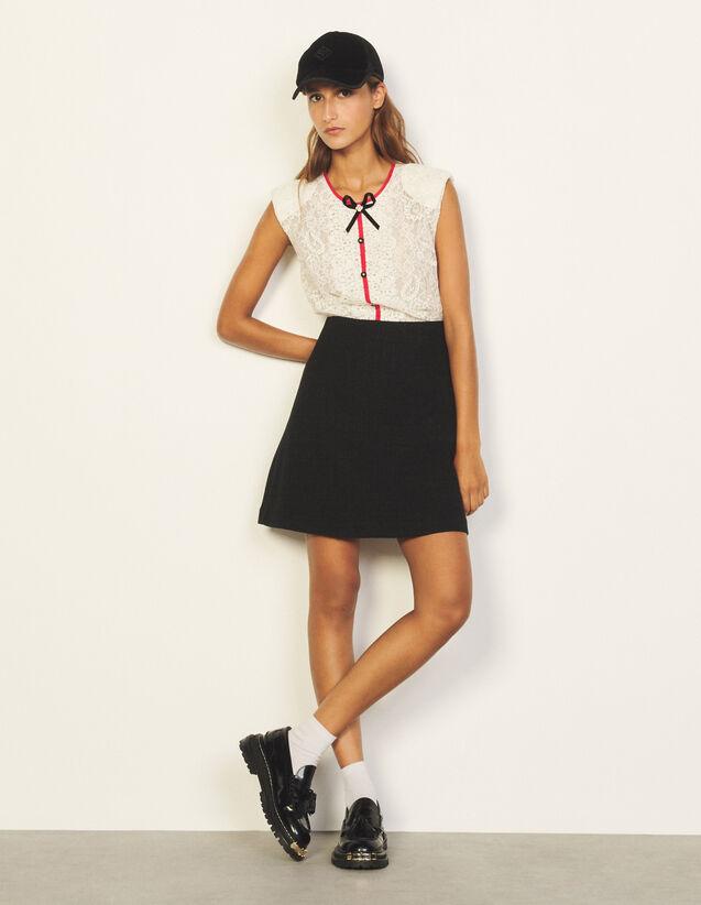 Short Dress In Mixed Materials : Dresses color Ecru