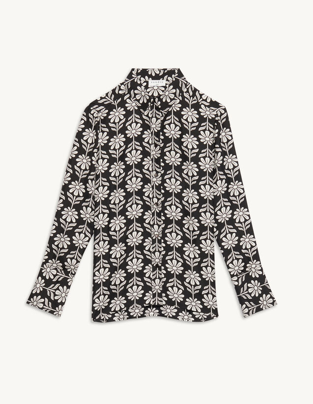 Floaty Printed Silk Shirt : Shirts color Black / White
