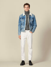 Denim Jacket, Faux Sheepskin Lining : Trench coats & Coats color Blue Vintage - Denim