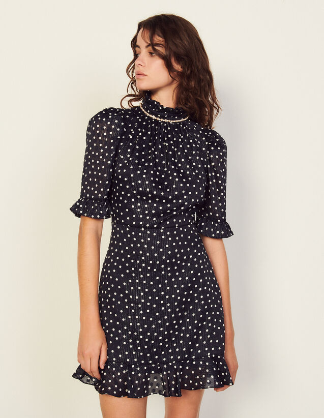 Short Polka Dot Dress With Jewels : Dresses color Marine / Blanc