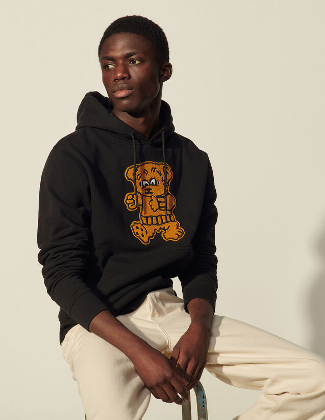 Hoodie With Bear Patch : Sweatshirts color Black
