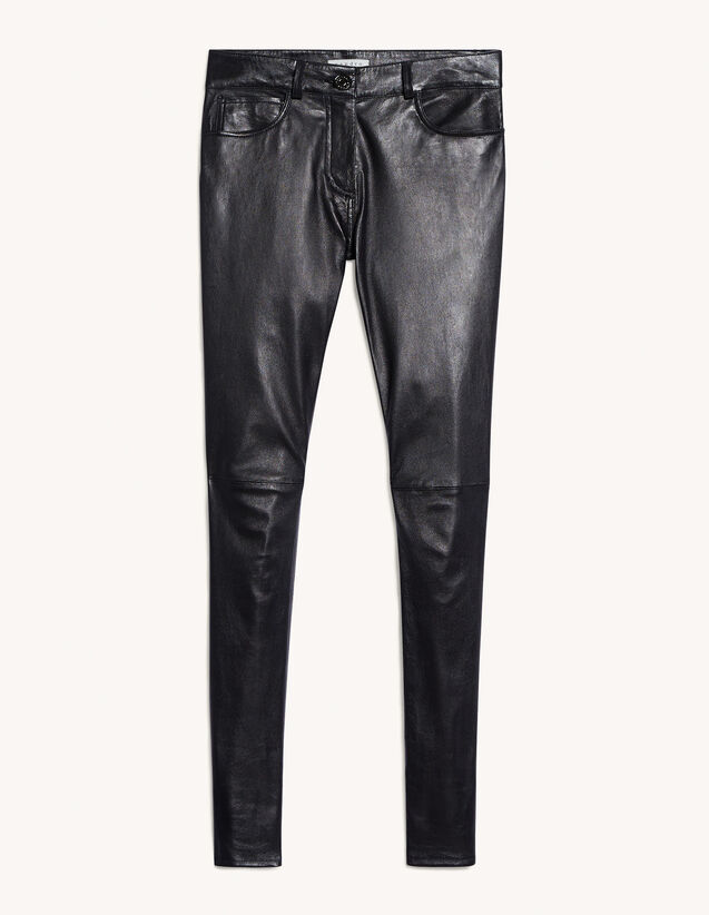 Stretch Leather Trousers With Pockets : Pants color Black