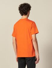T-Shirt With Logo Embroidery : T-shirts & Polo shirts color Orange