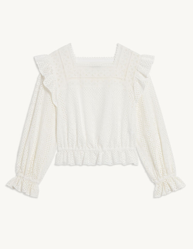 Broderie Anglaise Cropped Top : Ceremony Selection color Ecru