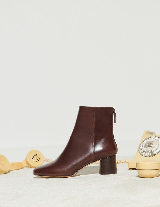 Smooth Leather Round-Heel Boots : Boots color Brown