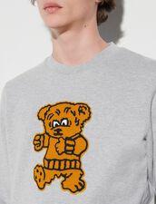 Sweatshirt With Bear Patch : Sweatshirts color Mocked Grey