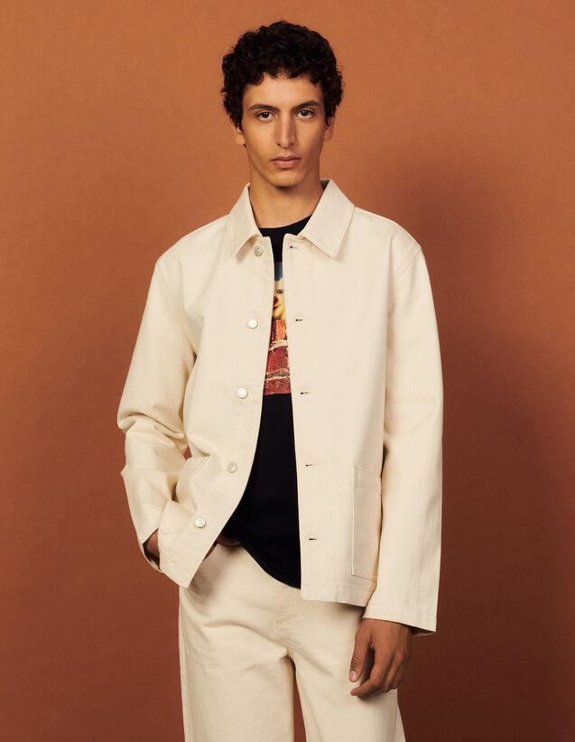 Denim Jacket With Patch Pockets : Coats & Jackets color Ecru