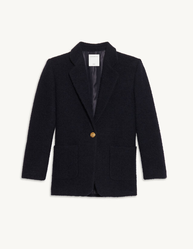 Tweed Tailored Jacket : Blazers & Jackets color Navy Blue