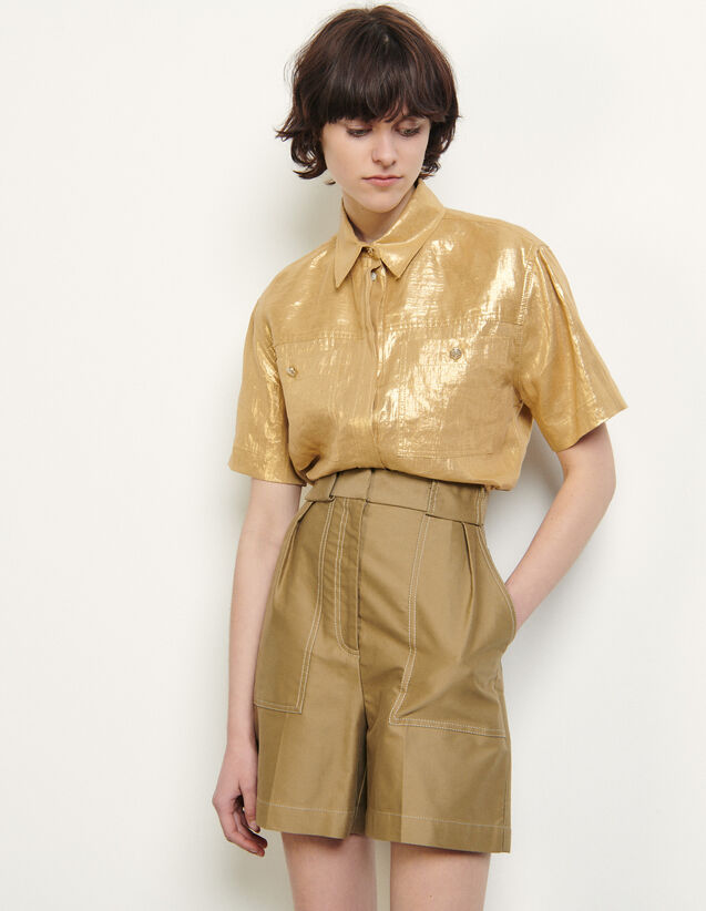 Cotton Gabardine Shorts : Skirts & Shorts color Beige