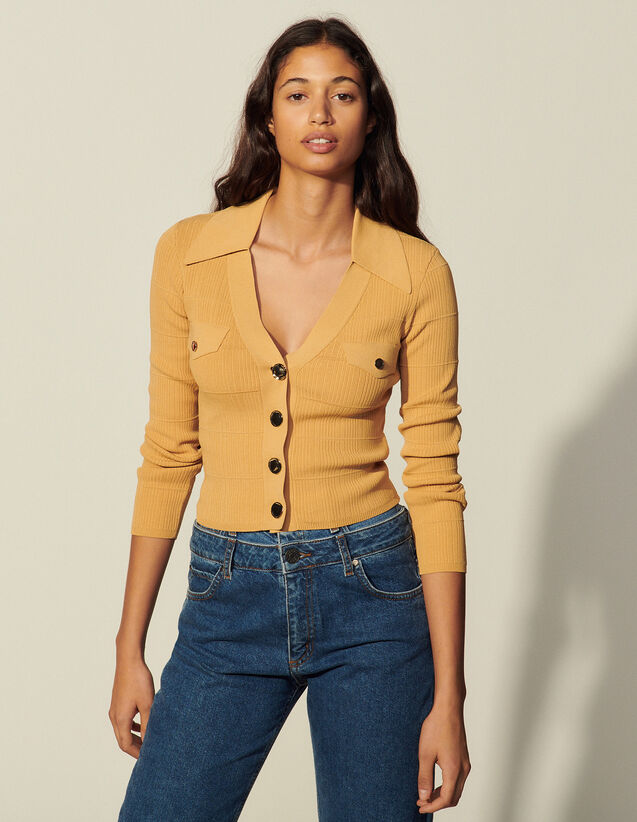 Knitted Cardigan With Polo Neck : Sweaters & Cardigans color Camel