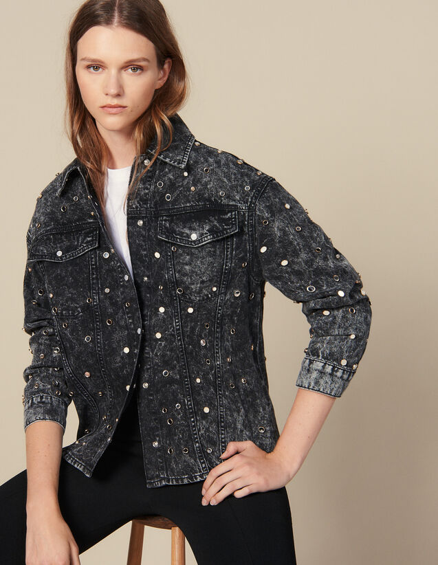 Denim Shirt Trimmed With Studs : Shirts color Black