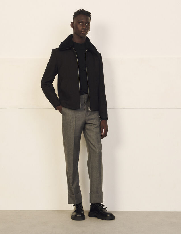 Jacket With Detachable Sheepskin Collar : Trench coats & Coats color Black