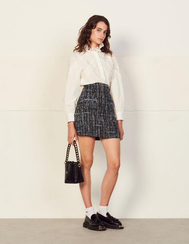 Short Tweed Skirt : Skirts & Shorts color Deep blu
