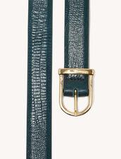 Lizard Embossed Leather Belt : Belts color Bottle Green