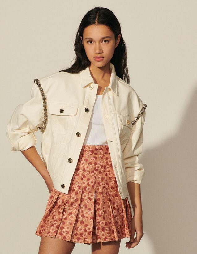 Cotton Canvas Jacket With Rhinestones : Blazer & Jacket color Ecru