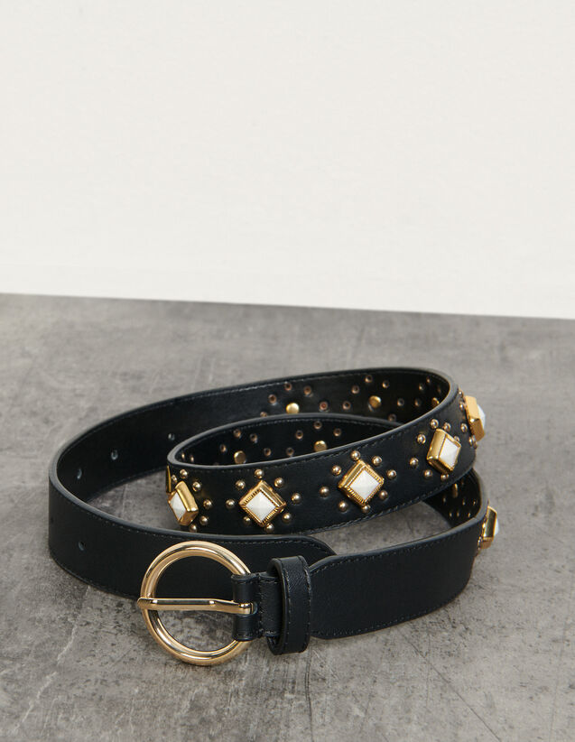 Belt With Studs And Acetate Gemstones : Belts color Black