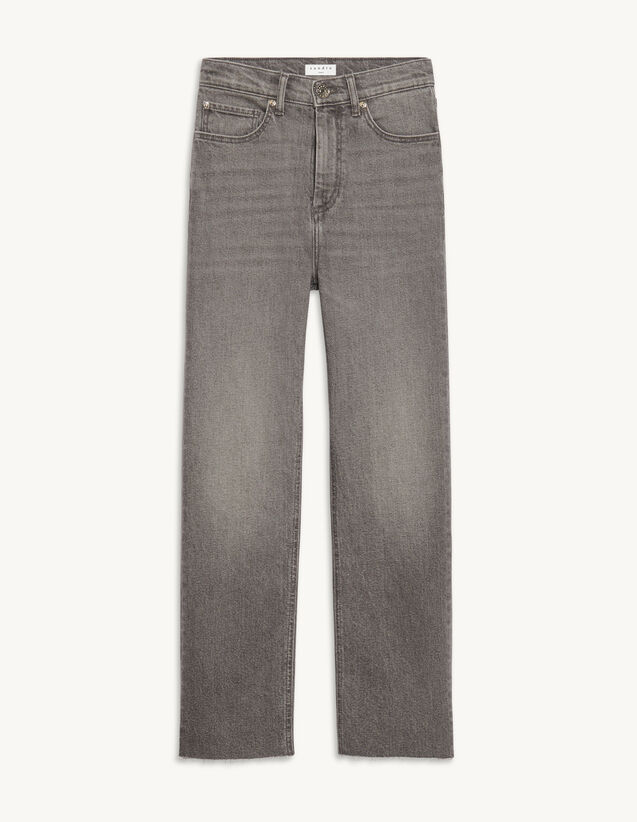 Straight Leg Stretch Jeans : Jeans color Grey