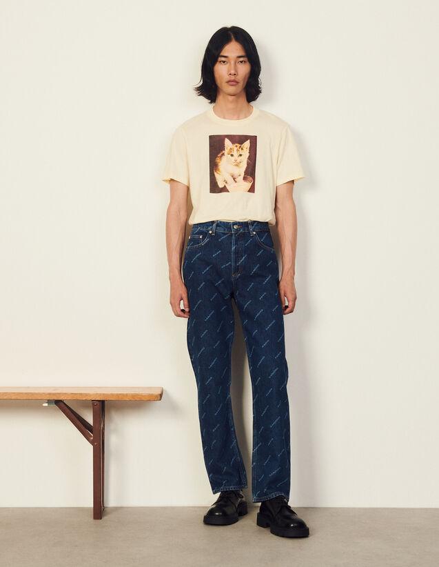 Sandro Paris Printed Jeans : Jeans color Blue Vintage - Denim