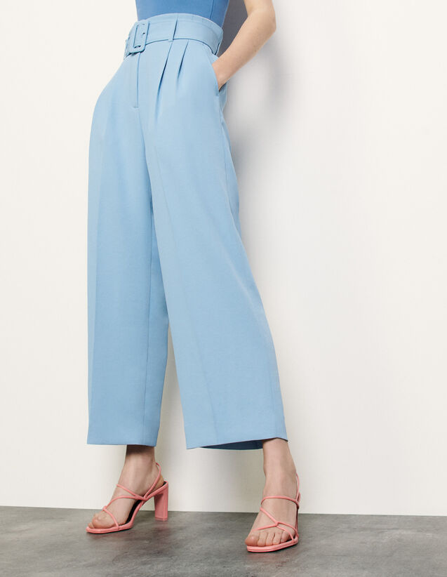 Wide-Leg Trousers With A Belt : Summer Collection color Blue Sky
