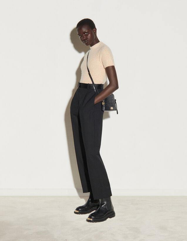 Straight-Leg Dual-Material Trousers : Pants color Black