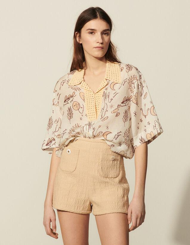 Printed Shirt With Crochet Collar : Skirts & Shorts color Ecru