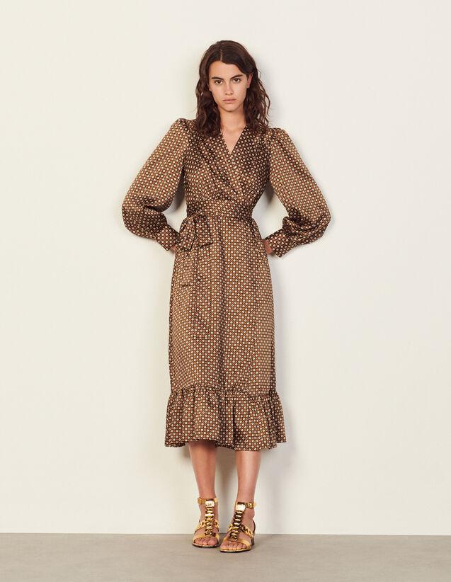 Long Flowing Printed Dress : Dresses color Brown / Black