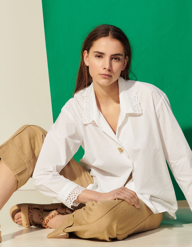 Shirt With Broderie Anglaise Collar : Shirts color white