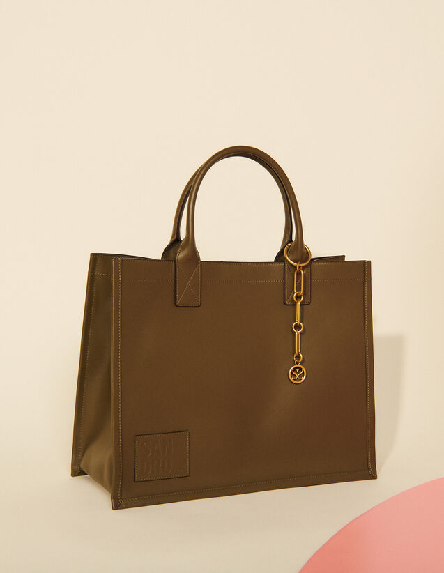 Leather Tote Bag With Chain Jewellery : All Bags color Olive Green