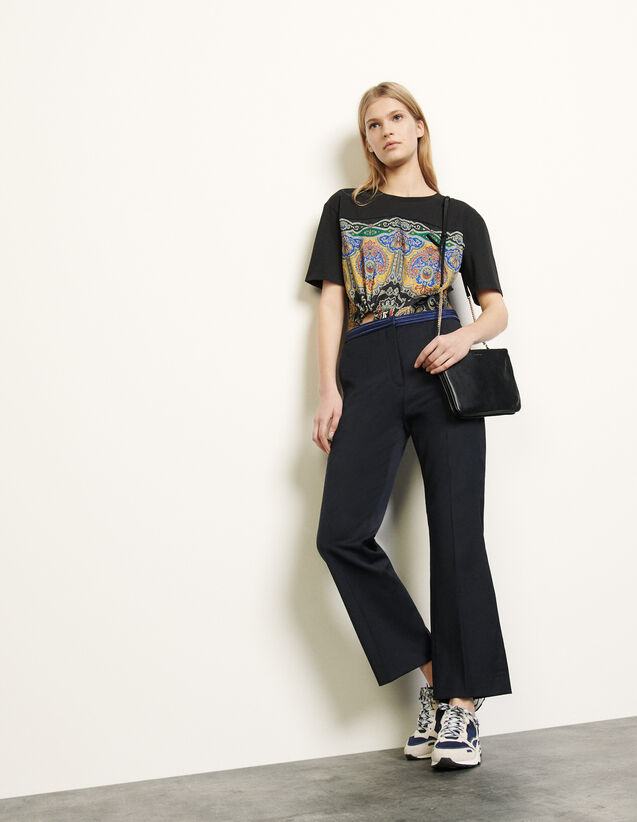 Straight-Leg Trousers With Braid Trims : Pants color Navy Blue