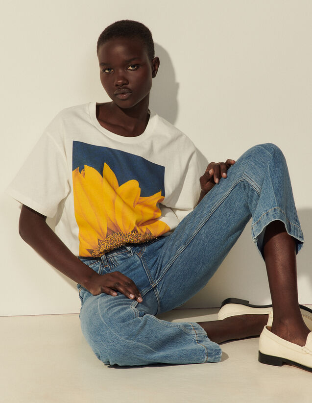 Printed Cotton T-Shirt : T-shirts color white
