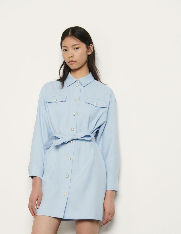 Shirt Dress With Decorative Buttons : Dresses color Blue sky