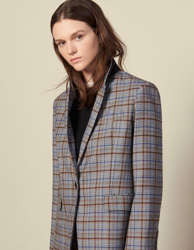 Checked Wool Blazer : Blazer & Jacket color Grey