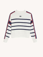 Sailor-Striped Sweater : Sweaters & Cardigans color Ecru / Black