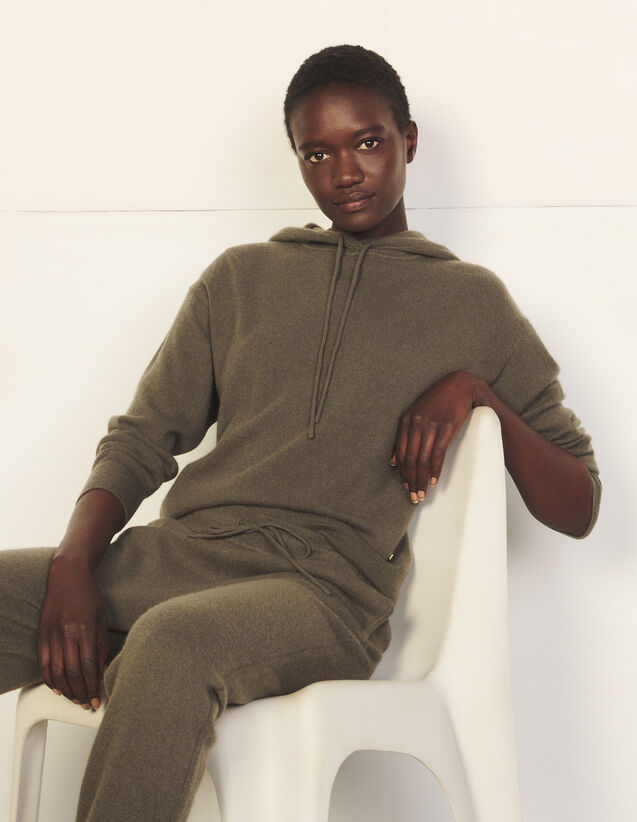 Cashmere Hooded Sweater : Sweaters & Cardigans color Olive Green