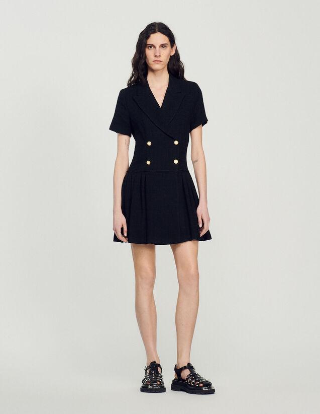 Short Tweed Coat Dress : Dresses color Black