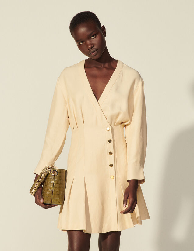 Short Linen Dress With Press Studs : Dresses color Beige