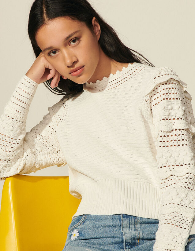 Crochet Sweater : Sweaters & Cardigans color white