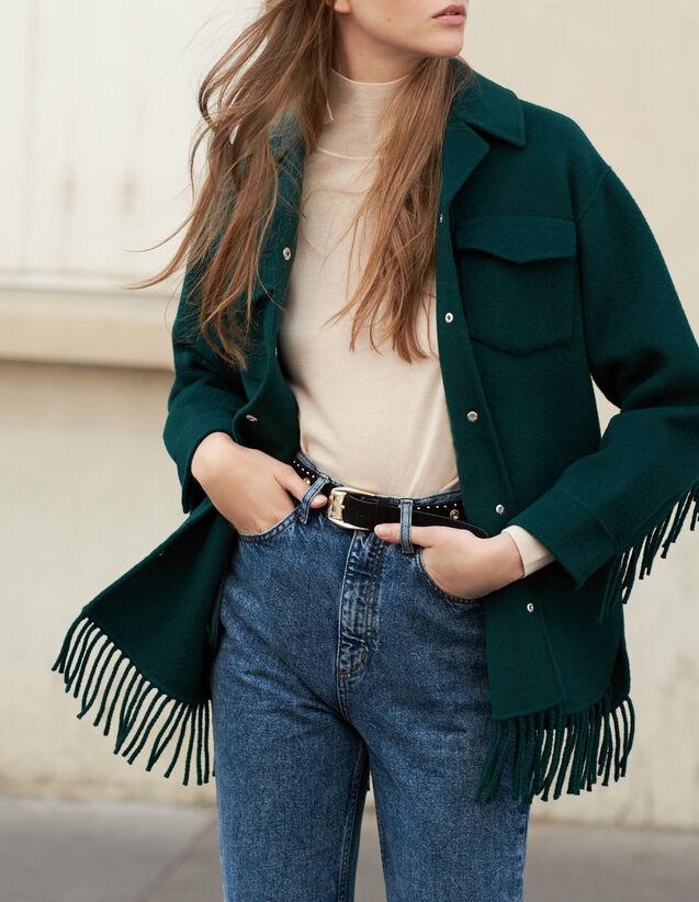Oversized Shirt Jacket : Blazer & Jacket color Bottle Green