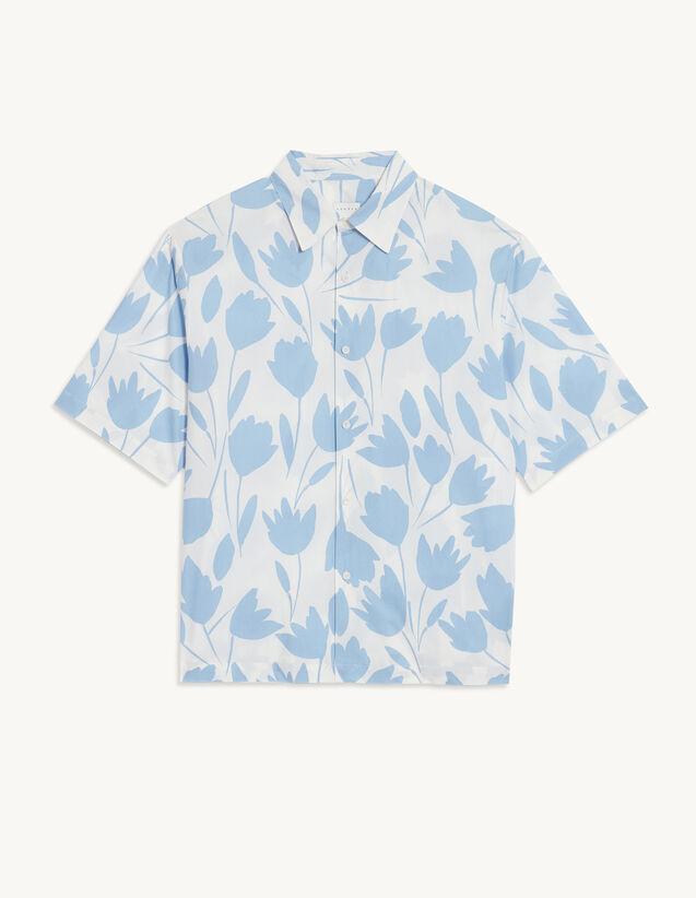 Short-Sleeved Printed Shirt : Shirts color Flower Blue light-white