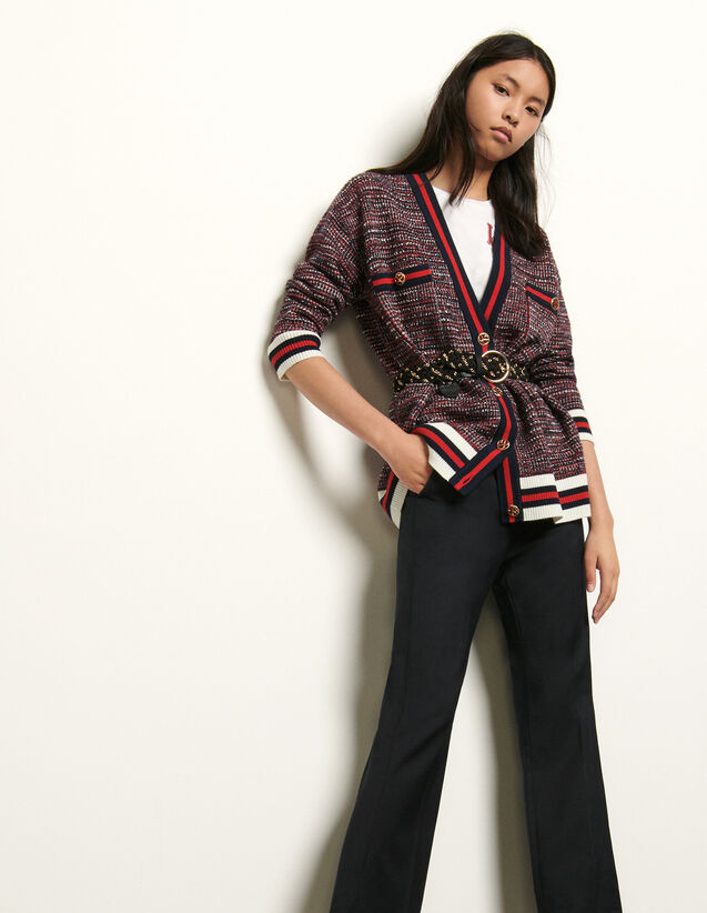 Tweed-Effect Cardigan With Braid Trim : Sweaters & Cardigans color Blue